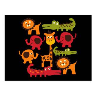 Carte Postale Cadeaux mignons d'impression d'animaux de zoo de