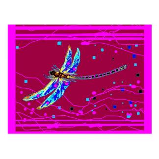 Carte Postale Cadeaux pourpres d'améthyste bleue de libellule