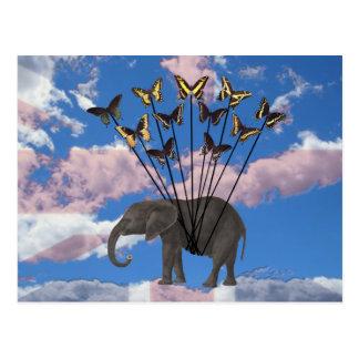 Carte Postale Cadeaux vintages éléphant et papillons de