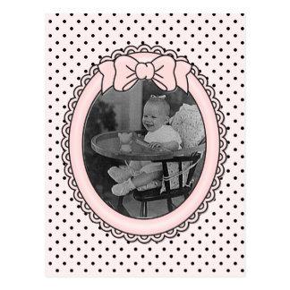 Carte Postale Cadre ovale rose avec l'arc - personnaliser avec