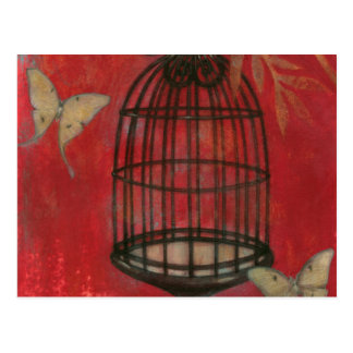 Carte Postale Cage à oiseaux décorative avec des papillons