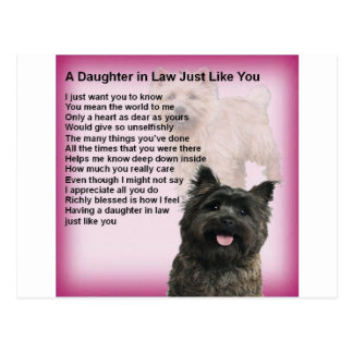 Carte Postale Cairn Terrier - poème de belle-fille