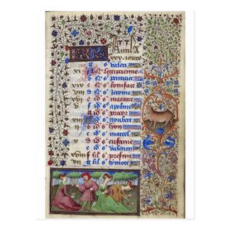 Carte Postale Calendrier médiéval : Avril
