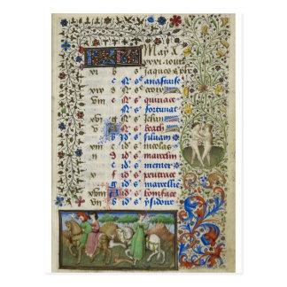 Carte Postale Calendrier médiéval : Mai