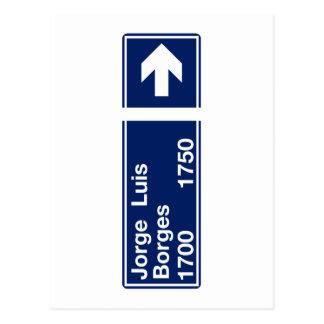 Carte Postale Calle Jorge Luis Borges, plaque de rue de Buenos