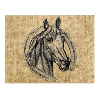 Carte Postale Camée de cheval sur la toile de jute