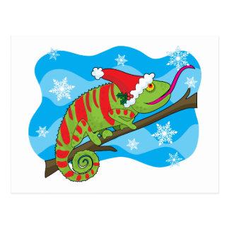 Carte Postale Caméléon de Noël