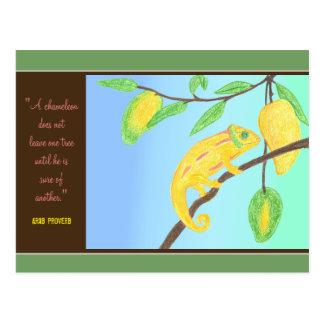 Carte Postale Caméléon jaune dans un proverbe de manguier et