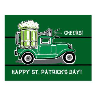 Carte Postale Camion de cru de bière de vert du jour de St
