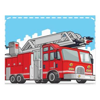 Carte Postale Camion de pompiers ou pompe à incendie rouge