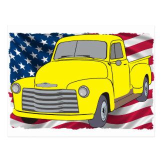 Carte Postale Camion vintage de Chevy avec le drapeau américain