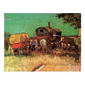Carte Postale Campement des gitans avec des caravanes, Van Gogh