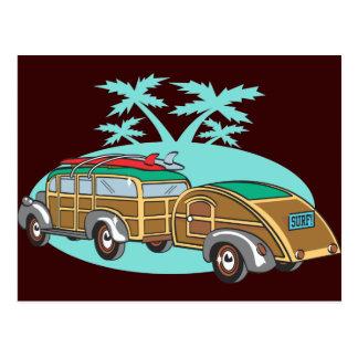 Carte Postale Camper allant dans mon Woody