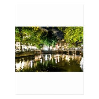 Carte Postale canal de nuit à Amsterdam, Pays-Bas