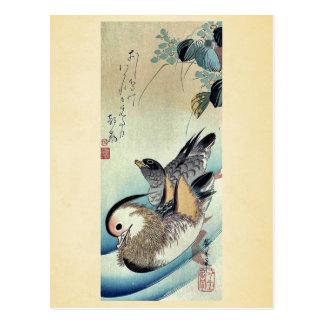 Carte Postale Canards de mandarine par Ando, Hiroshige Ukiyoe