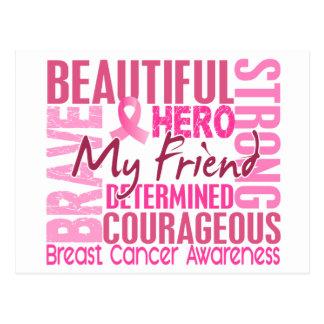 Carte Postale Cancer du sein carré d'ami d'hommage