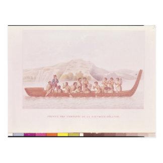 Carte Postale Canoë de pirogue piloté par des indigènes de la