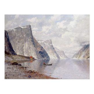 Carte Postale Canotage sur un fjord norvégien (huile sur la