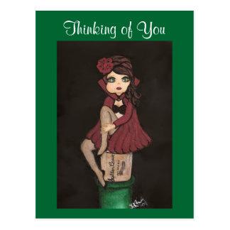 Carte Postale Caped rouge Quantum Cutie pense à vous