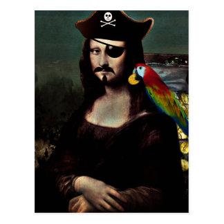 Carte Postale Capitaine de pirate de Mona Lisa avec la moustache