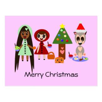 Carte Postale Capuchon rouge, Rapunzel à la fête de Noël
