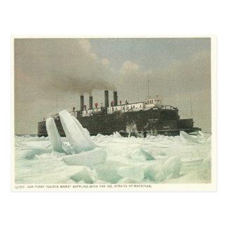 Carte Postale Car-ferry vintage, détroits de Mackinaw, Michigan