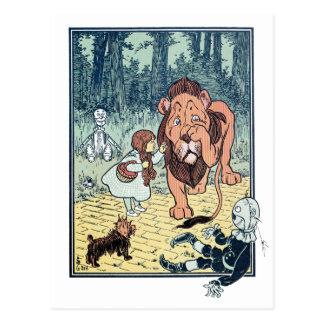 Carte Postale Caractères vintages de magicien d'Oz, route jaune