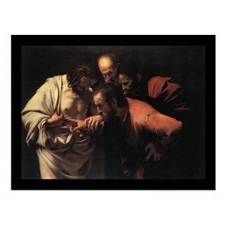 Carte Postale Caravaggio l'incrédulité du saint Thomas