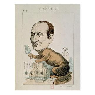 Carte Postale Caricature de baron Georges Eugene Haussmann