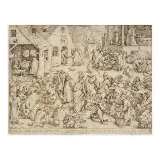 Carte Postale Caritas (charité) par Pieter Bruegel l'aîné