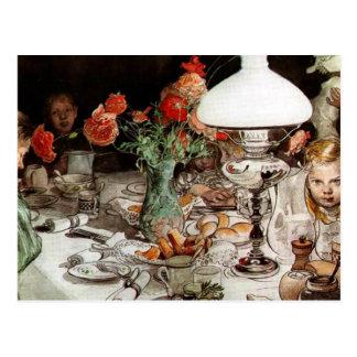 Carte Postale Carl Larsson - autour de la lampe