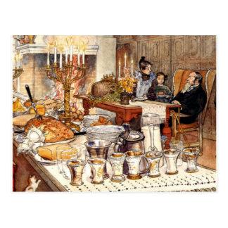 Carte Postale Carl Larsson : Détail de réveillon de Noël, art de