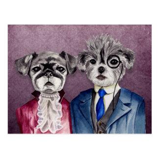 Carte Postale Carlin et chiens de griffon de Bruxelles dans le