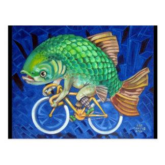 Carte Postale Carpe sur une bicyclette