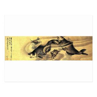 Carte Postale Carpes par Katsushika Hokusai
