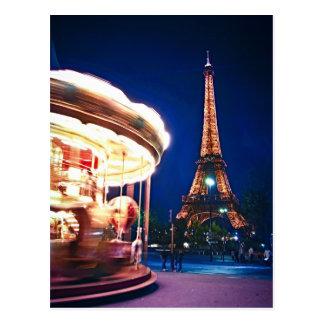 Carte Postale Carrousel et Tour Eiffel à Paris