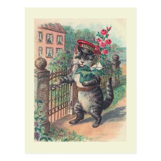 """Carte Postale """"Carte postale vintage de chat du facteur"""""""