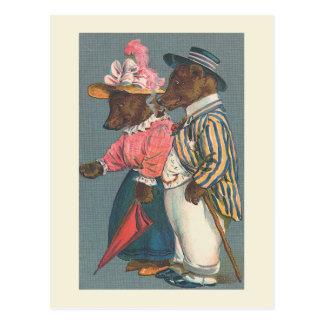 """Carte Postale """"Carte postale vintage des couples d'ours"""""""