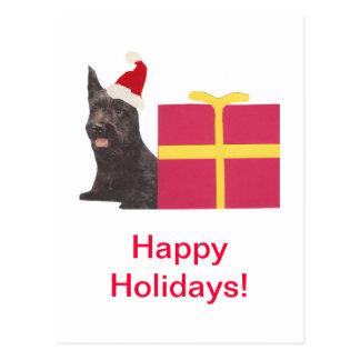 Carte Postale Casquette de Terrier Père Noël d'écossais