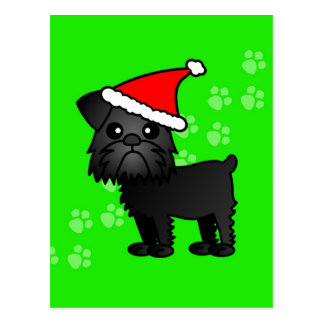 Carte Postale Casquette noir mignon de Père Noël de bande