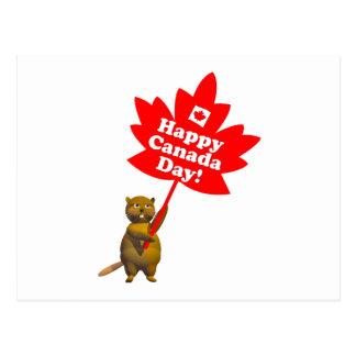 Carte Postale Castor de jour du Canada et feuille d'érable