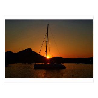 Carte Postale Catamaran au coucher du soleil Ibiza.JPG