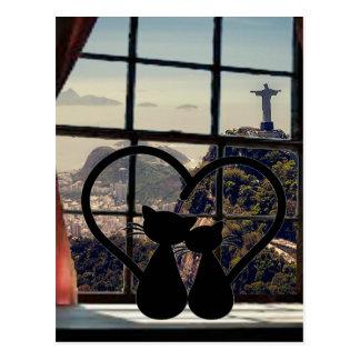 Carte Postale catsin love in Rio de Janeiro