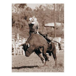Carte Postale Cavalier environ à tomber le taureau s'opposant