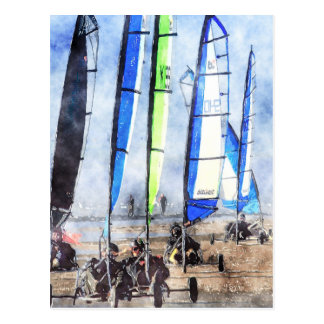 Carte Postale Cefn Sidan Blokart emballant la concurrence