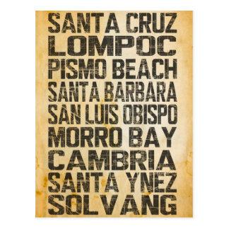 Carte postale centrale de côte de la Californie