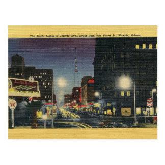 Carte postale centrale vintage de Phoenix Arizona