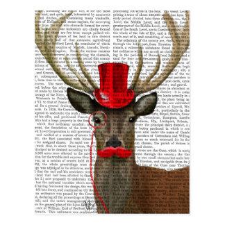 Carte Postale Cerfs communs avec le casquette et la moustache