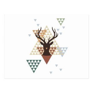 Carte Postale Cerfs communs de Noël avec le motif géométrique