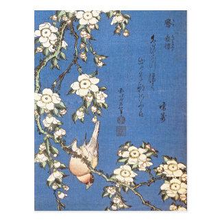 Carte Postale Cerise et bouvreuil pleurants par Hokusai